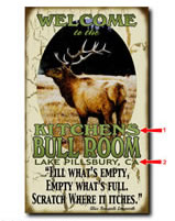 Antique-look sign personalized outdoorsmen with your custom information