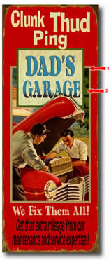 Personalized vintage tin sign for car enthusiasts also available in wood plank.