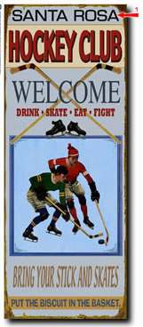 Personalized vintage tin sign for hockey clubs also available in wood plank.