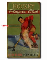Personalized vintage tin sign for hockey players also available in wood plank.