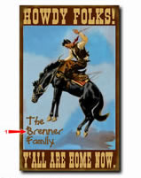 Personalized vintage tin sign with western horse theme also available in wood plank.