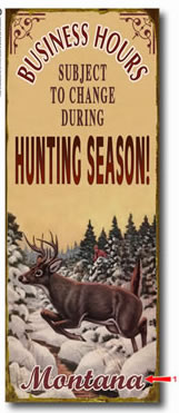 Personalized vintage tin sign for hunters also available in wood plank.