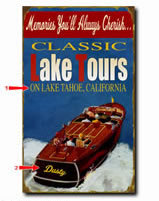 Antique-look sign for boaters personalized with your custom information