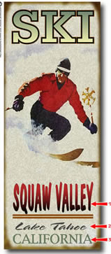 Antique-look ski fanatic sign personalized with your custom information
