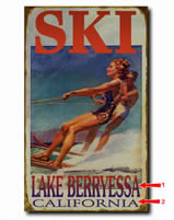 Antique-look water ski sign personalized with your custom information