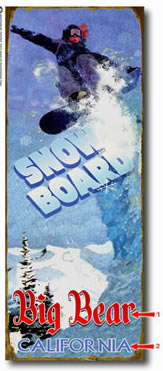 Antique-look snow board sign personalized with your custom information