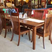 Amish Maple Dining Table and Chairs Wood, size and finish options