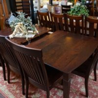 Solid Cherry Dining Table and Chairs Size, style and finish options Self-storing leaves available