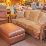 Two-tone Curved Sofa & Mission Recliner