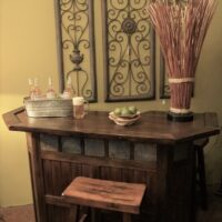 60-inch-Bar-with-Slate-Accents-Saddle-Seat-Barstool 1